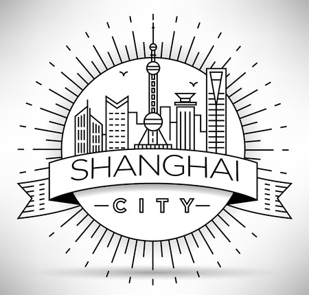Minimal Vector Shanghai City Linear Skyline with Typographic Design Illustration