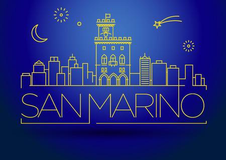marino: Minimal Vector San Marino City Linear Skyline with Typographic Design