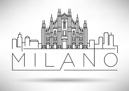 Minimal Vector Milano City Linear Skyline with Typographic Design Vettoriali