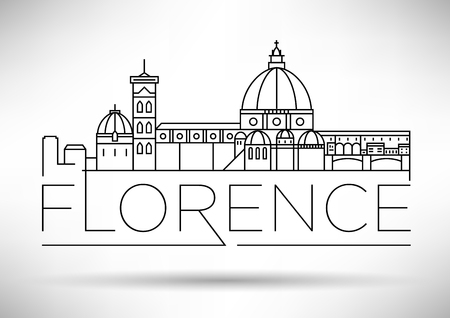 Minimal Vector Florence City Linear Skyline with Typographic Design  イラスト・ベクター素材