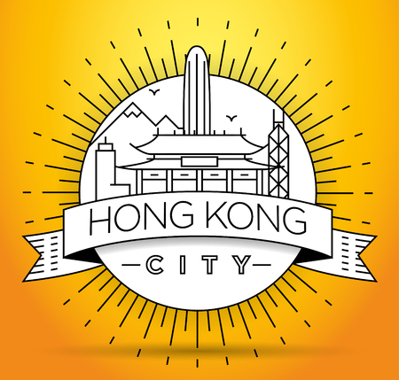 Minimal Vector Hong Kong City Linear Skyline with Typographic Design