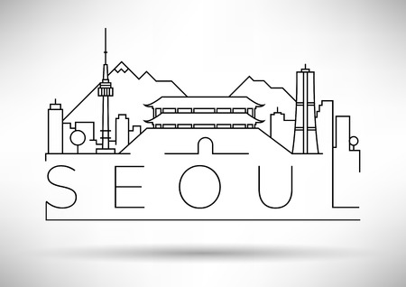 Minimal Vector Seoul City Skyline linéaire avec design typographique Vecteurs