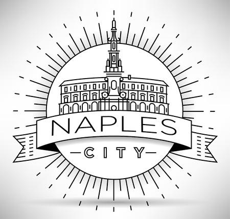 naples: Minimal Vector Naples City Linear Skyline with Typographic Design