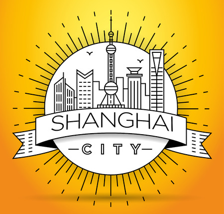 tv tower: Minimal Vector Shanghai City Linear Skyline with Typographic Design Illustration