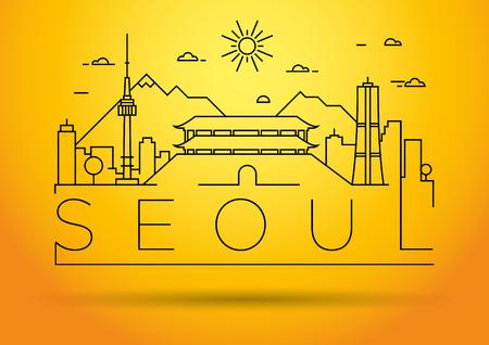 fareast: Minimal Vector Seoul City Linear Skyline with Typographic Design