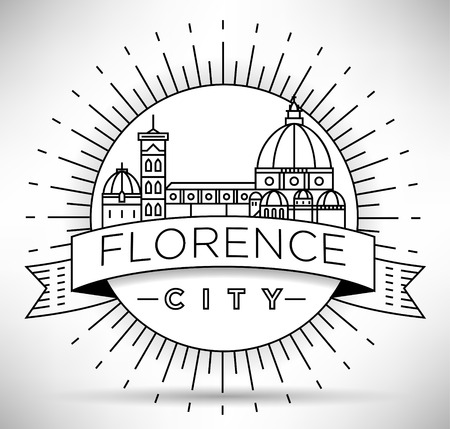 Minimal Vector Florence City Linear Skyline with Typographic Design Illustration