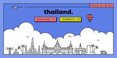 Thailand Modern Web Banner Design with Vector Linear Skyline Illustration