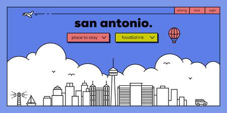 San Antonio Modern Web Banner Design with Vector Linear Skyline Illustration