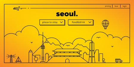 masthead: Seoul Modern Web Banner Design with Vector Linear Skyline Illustration