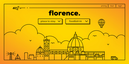 ponte vechio: Florence Modern Web Banner Design with Vector Linear Skyline