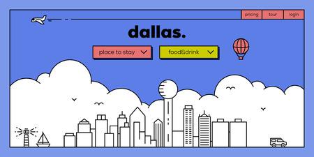 masthead: Dallas Modern Web Banner Design with Vector Linear Skyline Illustration