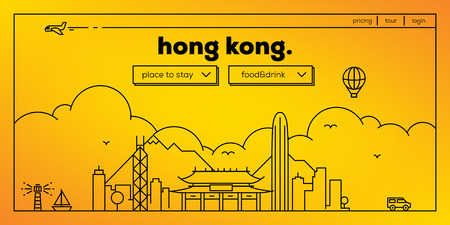 chinesse: Hong Kong Modern Web Banner Design with Vector Linear Skyline