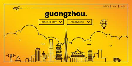 Guangzhou Modern Web Banner Design with Vector Linear Skyline