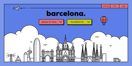 masthead: Barcelona Modern Web Banner Design with Vector Linear Skyline