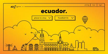 Ecuador Modern Web Banner Design with Vector Linear Skyline
