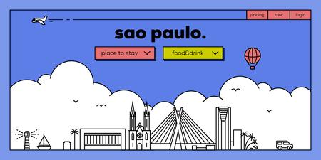 masthead: Sao Paulo Modern Web Banner Design with Vector Linear Skyline