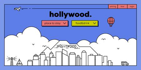 masthead: Hollywood Modern Web Banner Design with Vector Linear Skyline
