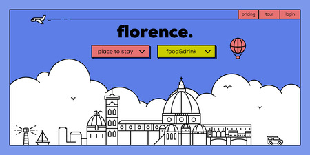 vechio: Florence Modern Web Banner Design with Vector Linear Skyline