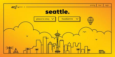 masthead: Seattle Modern Web Banner Design with Vector Linear Skyline Illustration