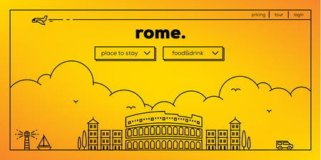 masthead: Rome Modern Web Banner Design with Vector Linear Skyline Illustration