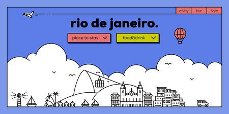 masthead: Rio de Janeiro Modern Web Banner Design with Vector Linear Skyline Illustration