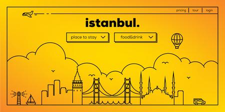 masthead: Istanbul Modern Web Banner Design with Vector Linear Skyline