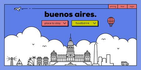 masthead: Buenos Aires Modern Web Banner Design with Vector Linear Skyline
