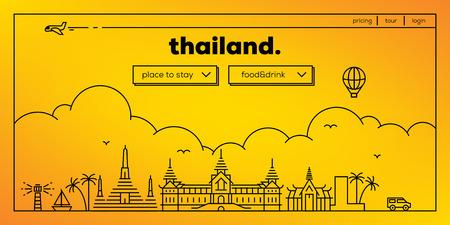 masthead: Thailand Modern Web Banner Design with Vector Linear Skyline Illustration