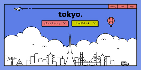 masthead: Tokyo Modern Web Banner Design with Vector Linear Skyline
