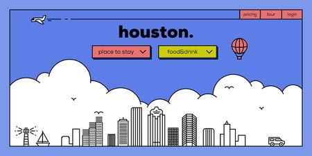 masthead: Houston Modern Web Banner Design with Vector Linear Skyline Illustration