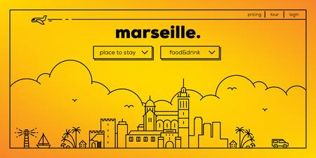 masthead: Marseille Modern Web Banner Design with Vector Linear Skyline