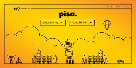 masthead: Pisa Modern Web Banner Design with Vector Linear Skyline Illustration