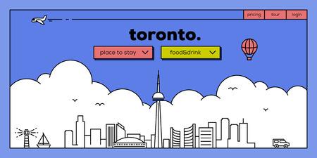 masthead: Toronto Modern Web Banner Design with Vector Linear Skyline
