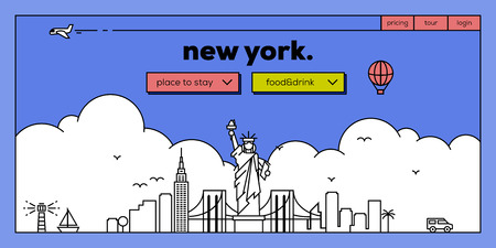 new york skyline: New York Modern Web Banner Design with Vector Linear Skyline