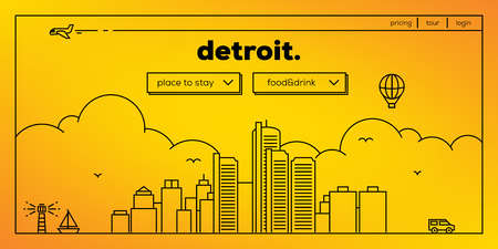detroit: Detroit Modern Web Banner Design with Vector Linear Skyline Illustration