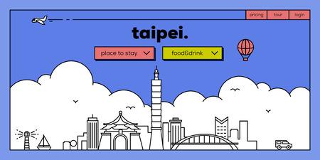 Taipei Modern Web Banner Design with Vector Linear Skyline Stock fotó - 61488416