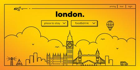 buckingham palace: London Modern Web Banner Design with Vector Linear Skyline
