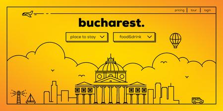 Bucharest Modern Web Banner Design with Vector Linear Skyline