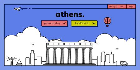 masthead: Athens Modern Web Banner Design with Vector Linear Skyline Illustration