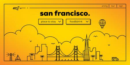 ベクトルの線形スカイラインとサンフランシスコ現代 Web バナー デザイン