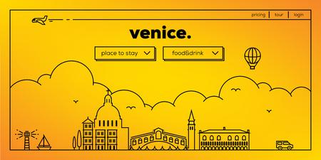 masthead: Venice Modern Web Banner Design with Vector Linear Skyline