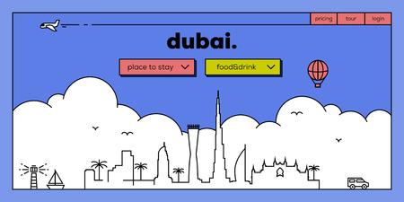 Dubai Modern Web Banner Design with Vector Linear Skyline Illustration