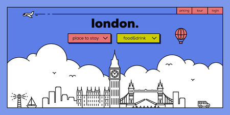 masthead: London Modern Web Banner Design with Vector Linear Skyline