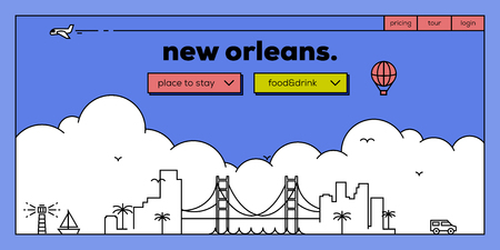 new orleans: New Orleans Modern Web Banner Design with Vector Linear Skyline