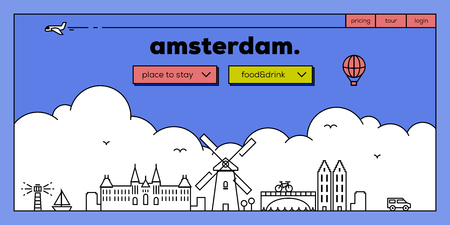 Amsterdam Modern Web Banner Design with Vector Linear Skyline