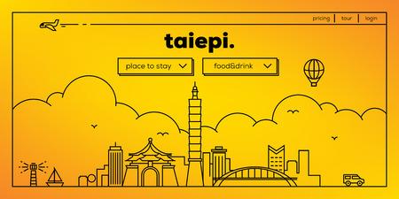 Taipei Modern Web Banner Design with Vector Linear Skyline Illustration