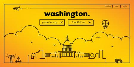 Washington Modern Web Banner Design with Vector Linear Skyline