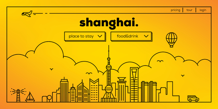 masthead: Shanghai Modern Web Banner Design with Vector Linear Skyline Illustration