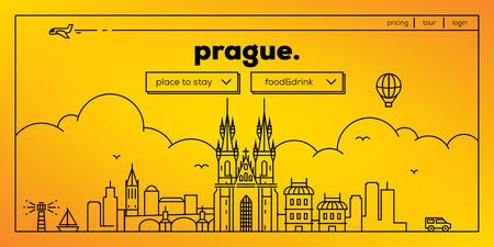 masthead: Prague Modern Web Banner Design with Vector Linear Skyline Illustration