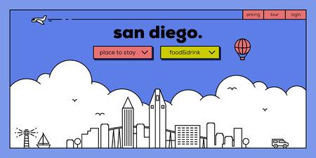 masthead: San Diego Modern Web Banner Design with Vector Linear Skyline